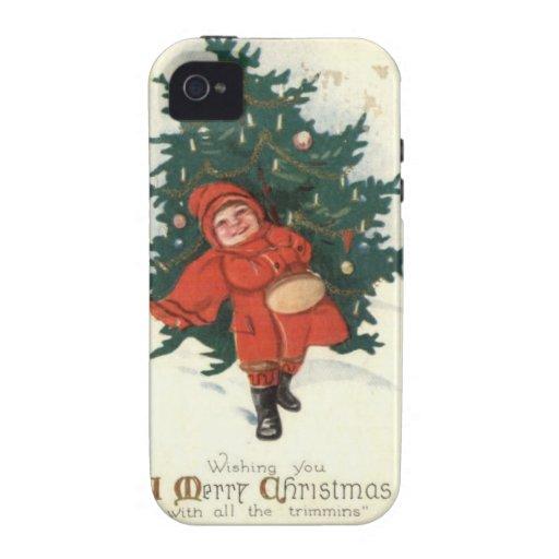 Muchacho de Navidad del vintage con un árbol de na Vibe iPhone 4 Carcasa