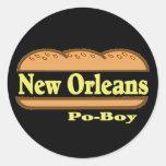 Muchacho de New Orleans Po Pegatina Redonda