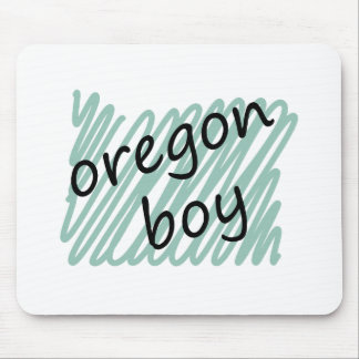 Muchacho de Oregon en el dibujo del mapa de Oregon Alfombrillas De Ratones