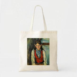 Muchacho de Paul Cezanne- en un chaleco rojo Bolsas Lienzo
