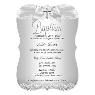 """Muchacho de plata o chica del bautismo del cordón invitación 5"""" x 7"""""""