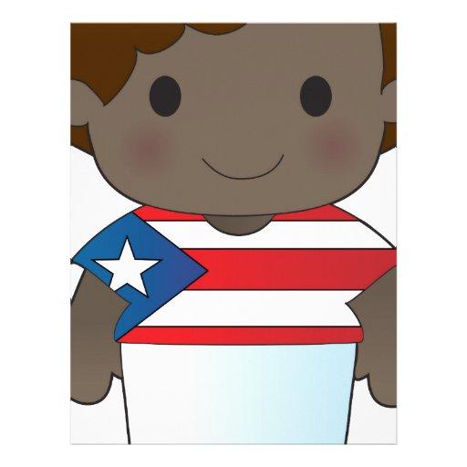 Muchacho de Puerto Rico de la amapola Plantilla De Membrete
