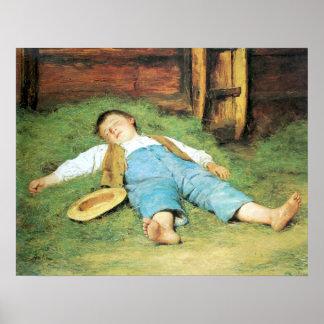 Muchacho de Schlafender Knabe im Heu que duerme en Póster