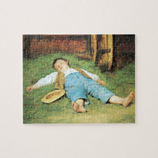 Muchacho de Schlafender Knabe im Heu que duerme en Puzzle Con Fotos