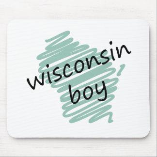 Muchacho de Wisconsin en el dibujo del mapa de Wis Tapete De Raton
