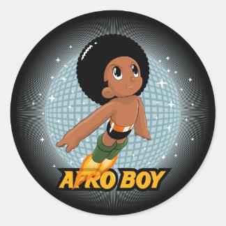 Muchacho del Afro Pegatina Redonda