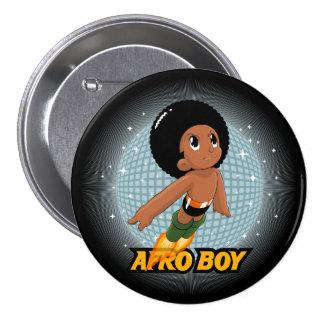Muchacho del Afro Pin Redondo De 3 Pulgadas