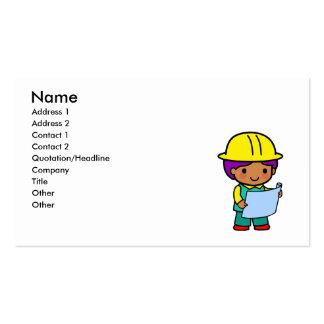Muchacho del arquitecto tarjetas de visita