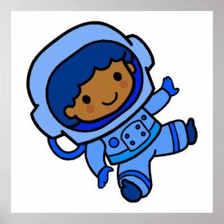 Muchacho del astronauta póster