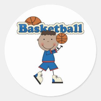 Muchacho del baloncesto, afroamericano pegatina redonda