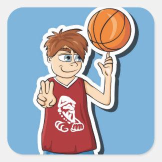 Muchacho del baskteball de Streetball Pegatina Cuadrada