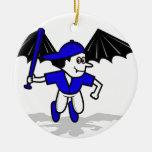 muchacho del bate de béisbol del vampiro ornamento de navidad