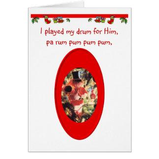 Muchacho del batería del navidad tarjeta de felicitación
