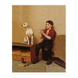 Muchacho del brillo del zapato con la flauta y el  tarjeta postal