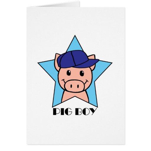 Muchacho del cerdo tarjeta de felicitación