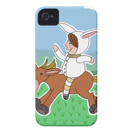 Muchacho del conejito que monta un caballo Case-Mate iPhone 4 cárcasas
