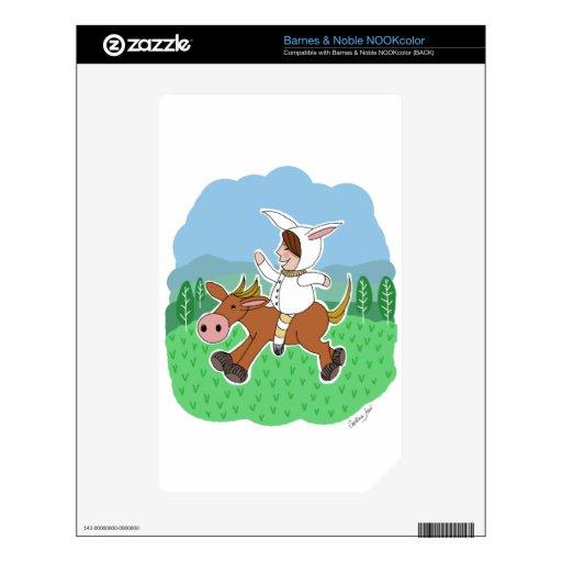 Muchacho del conejito que monta un caballo skin para el NOOK color