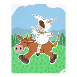 Muchacho del conejito que monta un caballo membrete a diseño
