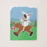 Muchacho del conejito que monta un caballo rompecabezas con fotos