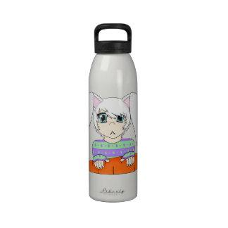Muchacho del conejo de conejito del animado con la botella de beber