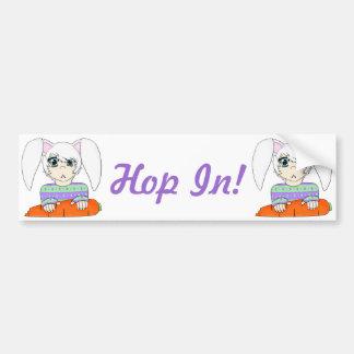 Muchacho del conejo de conejito del animado con la etiqueta de parachoque