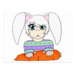Muchacho del conejo de conejito del animado con la tarjeta postal