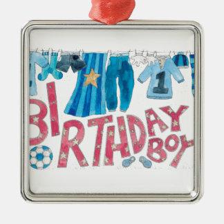 Muchacho del cumpleaños adorno navideño cuadrado de metal