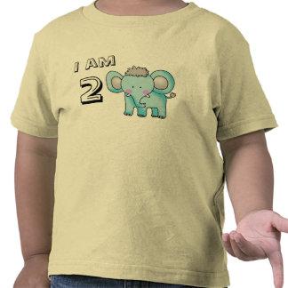 muchacho del cumpleaños de 2 años/chica (elefante) camiseta