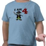 Muchacho del cumpleaños de cuatro años (pirata) camisetas