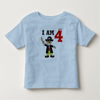 Muchacho del cumpleaños de cuatro años (pirata) playera