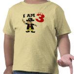 Muchacho del cumpleaños de tres años (pirata) camiseta