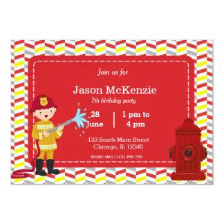 """Muchacho del cumpleaños del bombero invitación 5"""" x 7"""""""