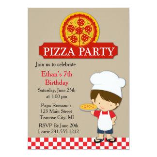 """Muchacho del cumpleaños del fiesta de la pizza invitación 5"""" x 7"""""""
