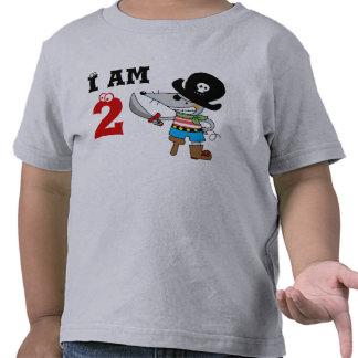 muchacho del cumpleaños del pirata de 2 años camisetas