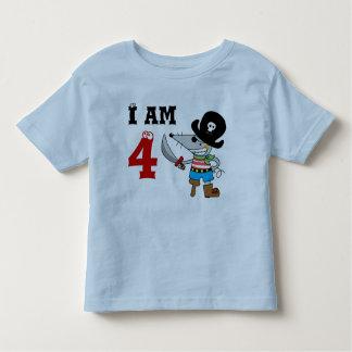 muchacho del cumpleaños del pirata de 4 años playera