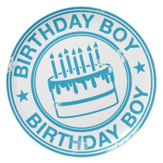 Muchacho del cumpleaños - efecto azul del sello de plato para fiesta