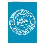 Muchacho del cumpleaños - efecto blanco del sello  tarjetón