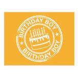 Muchacho del cumpleaños - efecto blanco del sello  tarjetas postales