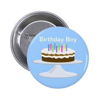 Muchacho del cumpleaños pin redondo de 2 pulgadas