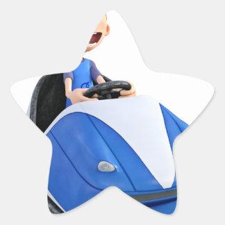 Muchacho del dibujo animado en un coche de pegatina en forma de estrella