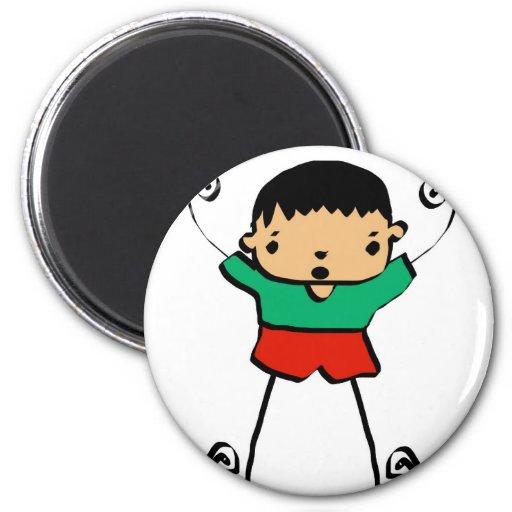 muchacho del dibujo animado imán redondo 5 cm