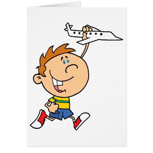 muchacho del dibujo animado que juega con el aerop