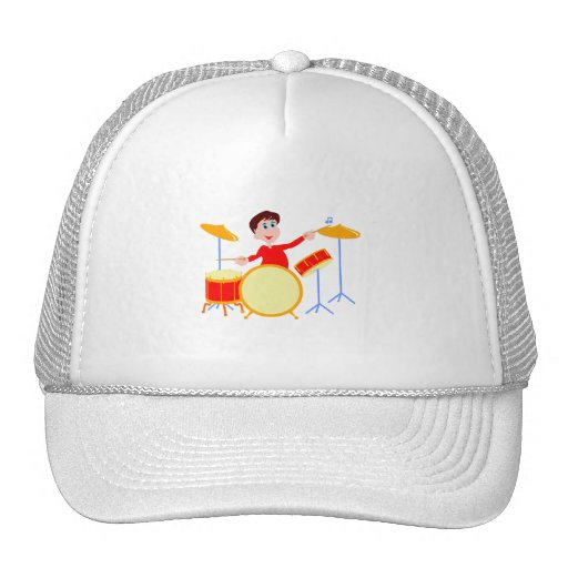 Muchacho del dibujo animado que juega los bordes d gorras de camionero