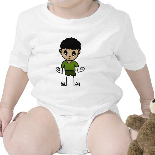 muchacho del dibujo animado traje de bebé