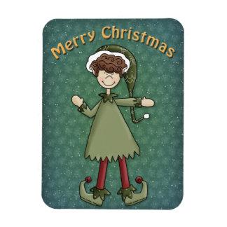 Muchacho del duende del navidad iman flexible