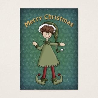Muchacho del duende del navidad tarjetas de visita grandes
