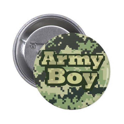 Muchacho del ejército pin redondo 5 cm