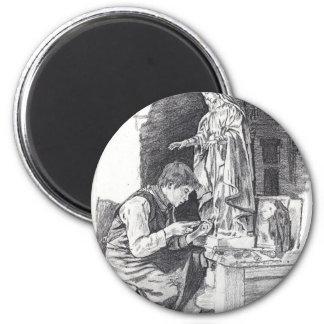 Muchacho del escultor imán redondo 5 cm