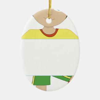Muchacho del fútbol adorno ovalado de cerámica