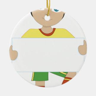 Muchacho del fútbol adorno redondo de cerámica